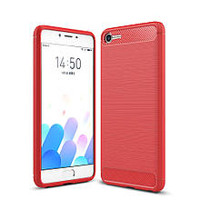 Чехол накладка TPU Fiber Carbon для Meizu E2 красный
