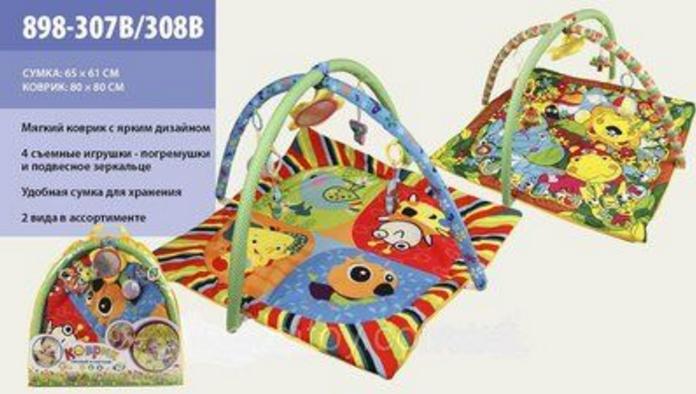 Детский игровой коврик 898-307В/308В c погремушками