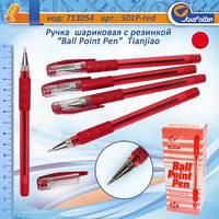 """Ручка 501P шариковая с резинкой """"Ball Point Pen"""" Красная уп24"""