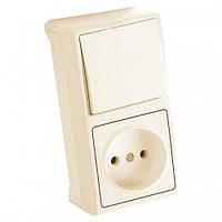 Блок вертикальный Выключатель + Розетка крем Viko Vera