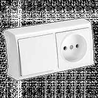 Блок горизонтальный Выключатель + Розетка белый Viko Vera