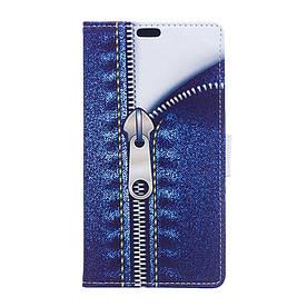 Чехол книжка для Meizu E2 боковой с отсеком для визиток, Замочек на молнии