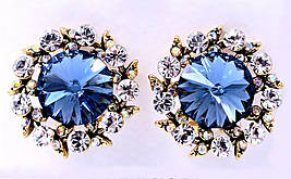Серьги с кристаллами Swarovski. Цвет: позолота. Диаметр серьги  19 мм. Итальянская застёжка.