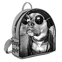 Серый городской рюкзак с принтом Собака в очках