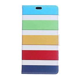 Чехол книжка для Meizu E2 боковой с отсеком для визиток, Разноцветные полоски