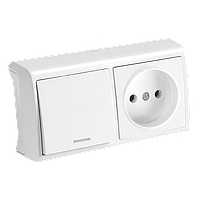 Блок горизонтальный Выключатель с подсветкой + Розетка белый Viko Vera