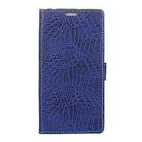 Чехол книжка для Meizu E2 боковой с отсеком для визиток, Крокодиловая кожа Темно-синий