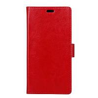 Чехол книжка для Meizu E2 боковой с отсеком для визиток, Гладкая кожа Красный