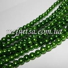 Перли керамічний, 6 мм, зелений трав'яний (20 шт)