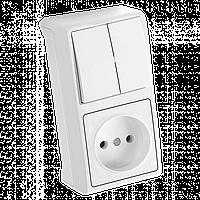 Блок вертикальный Выключатель двухклавишный + Розетка белый Viko Vera