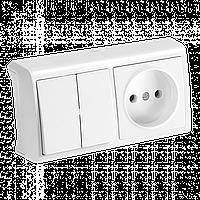 Блок горизонтальный Выключатель двухклавишный + Розетка белый Viko Vera