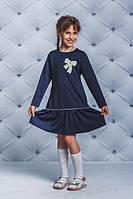 Школьное, красивое платье для девочки с бантом цвет темно - синий  рост - 122, 128, 134, 140, 146, 152
