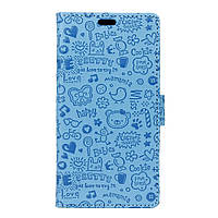 Чехол книжка для Meizu E2 боковой с отсеком для визиток, Мультяшки Голубой