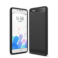 Чехол накладка для Meizu E2 силиконовый, Carbon Fibre Черный