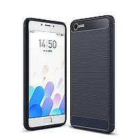 Чехол накладка для Meizu E2 силиконовый, Carbon Fibre Темно-синий
