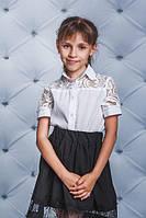 Школьная, красивая, модная блузка с гипюром для девочки  рост - 122, 128, 134, 140, 146, 152