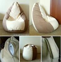 Коричнево молочное бескаркасное кресло