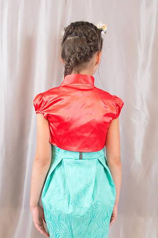 Праздничное детское красное болеро с коротким рукавом, фото 2