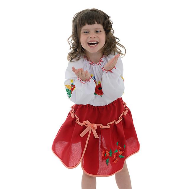 Красная юбка с оригинальной вышивкой для девочки