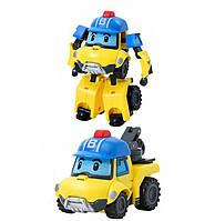 """Игрушка детская машинка- трансформер  """"Робокар Баки"""" жёлто -синий 11*10*15 см."""
