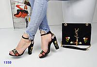 Женские босоножки на каблуке 10 см, велюр, черные / модные босоножки для девочек, стильные