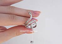 Кольцо змейка с камнями