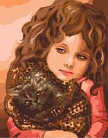 Картина по номерам Девочка с котенком 40 х 50 см (КН2307)