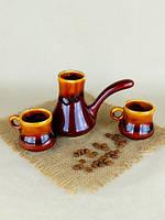 Турка для кофе из керамики в наборе с двумя чашками, коричневая 200 мл