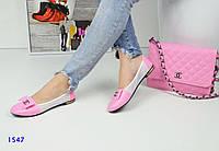 Женские балетки Chаnel, эко кожа, розовые / туфли женские Шанель, модные
