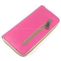 Женский кожаный кошелек на молнии LIKA (розовый)