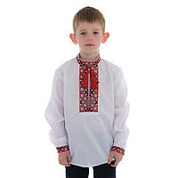 Детская вышиванка для мальчика с красной вышивкой, фото 1