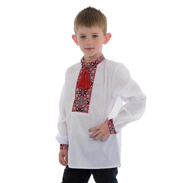 Детская вышиванка для мальчика с красной вышивкой