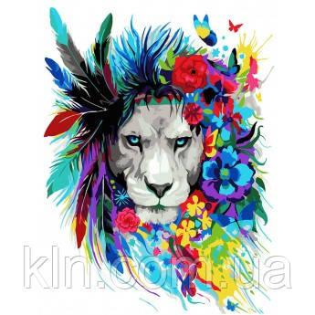 Картина по номерам Лев в красках 40 х 50 см (КН2483)
