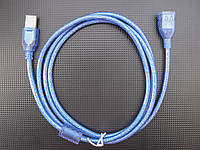 Удлинитель USB 2.0 (папа) - USB 2.0 (мама), 1,5 м, TRY WIRE, синий, гарантия 12 мес