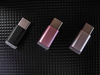 Переходник microUSB - Type C, TRY PLUG, с подсветкой, черный, серебристый, розовый, гарантия 12 мес