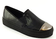 Туфли слипоны черные серебр носок Т428, р 36,37,38,39,40,41