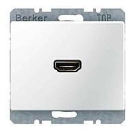 HDMI розетка (подключение сзади под углом 90 градусов) Berker Arsys Полярная Белизна (3315430069)