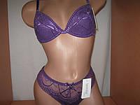 Комплект белья LEMILA кружевной  фиолетовый чашка С с доп.подушечками и бикини