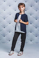 Школьная, красивая, модная блузка с коротким рукавом синяя для девочки  рост - 122, 128, 134, 140, 146, 152