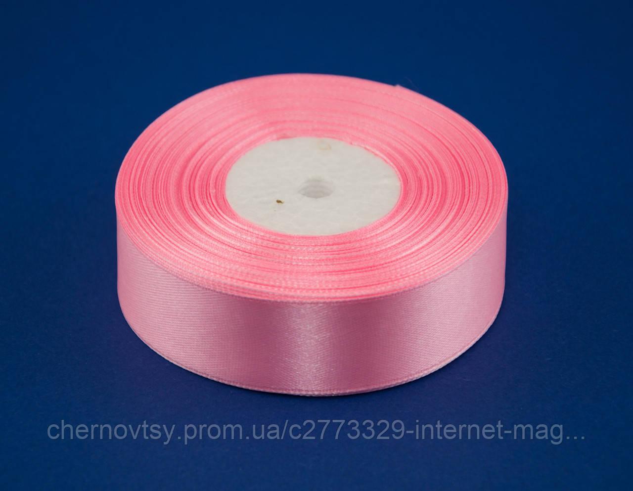 Лента атлас 2.5 см, 33 м, № 148 розовая