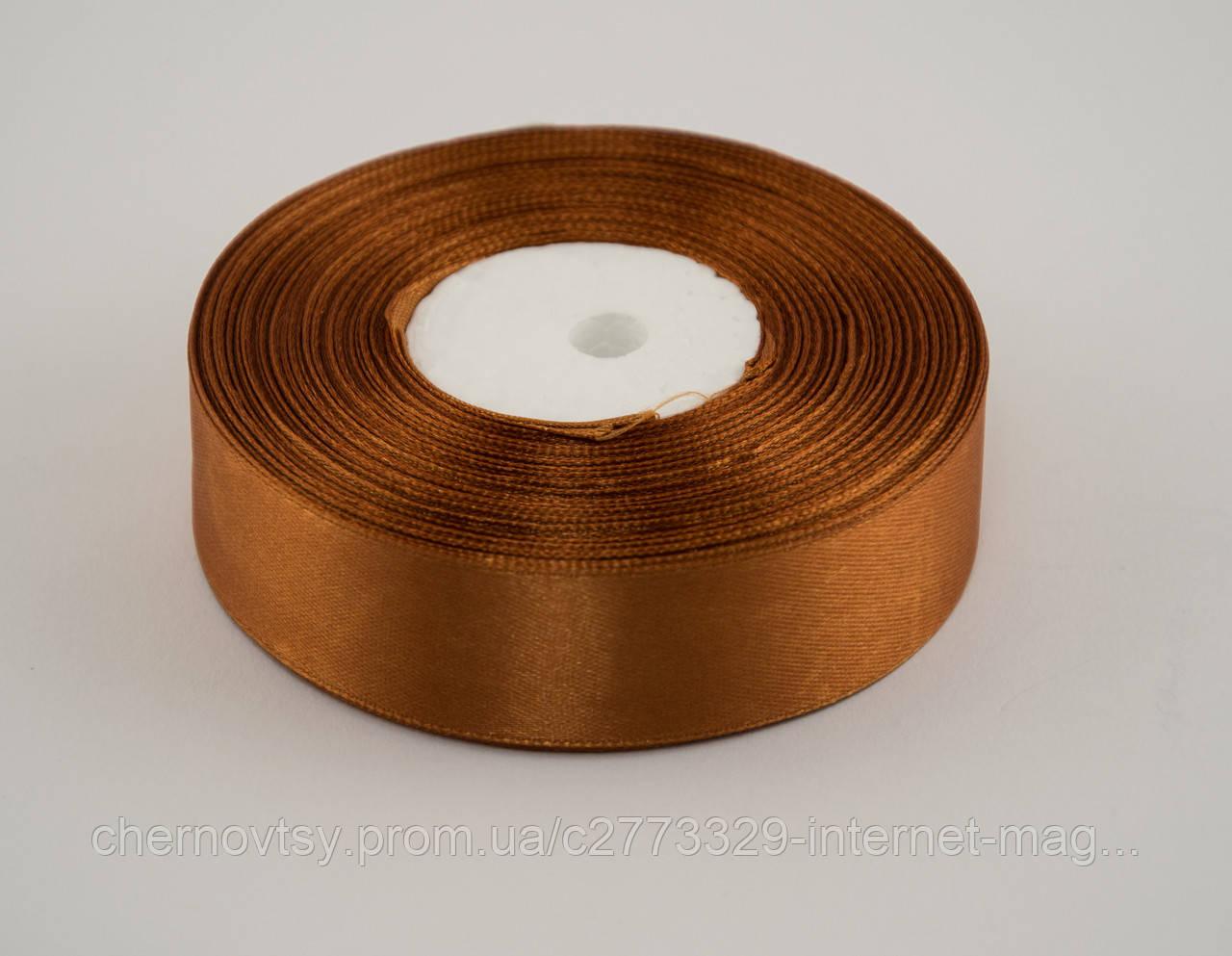 Лента атлас 2.5 см, 33 м, № 158 темно золотистая