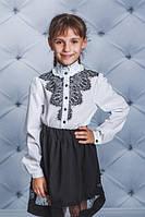 Школьная, красивая, модная блузка с кружевом цвет белый для девочки  рост - 128, 134, 140, 146, 152