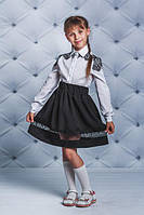 Школьная, красивая, модная блузка сгипюром цвет белый для девочки  рост - 128, 134, 140, 146, 152