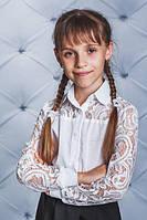 Школьная, красивая, модная блузка с гипюром цвет белый для девочки  рост - 128, 134, 140, 146, 152