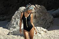 Шикарный слитный купальник черный CHARLOTTE F33 518