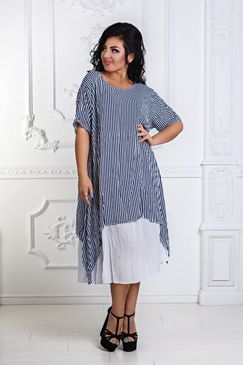 Д1273 Оригинальное платье в полоску размеры 46-56