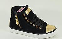 Ботинки женские черные с золотом Д445, р  36,37,38,39,40