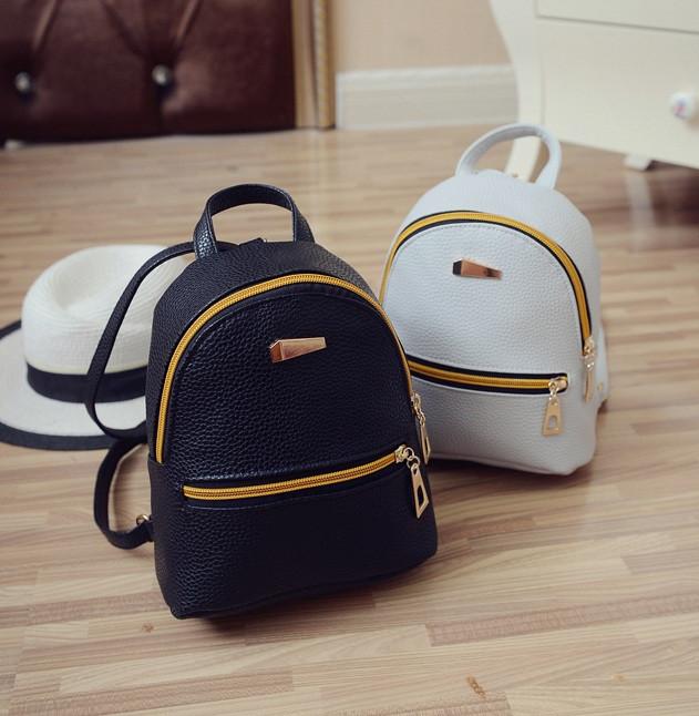 3b8c565c3641 Рюкзак женский маленький черный ПУ кожа - Интернет-магазин