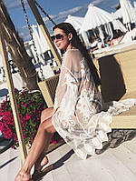 Женский модный пляжный белый халат-туника
