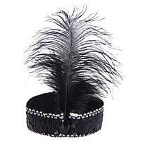 Ободок повязка для волос праздничная черная Перо